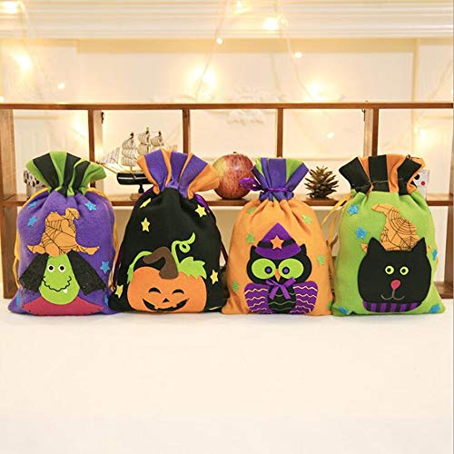 Halloween Tote Tasche Halloweennon-Gewebte Stoff Partygeschenk Wiederverwendbare Candy Bag Cartoon Kürbis Hexe Ghost Party Liefert Dekorationen 4 Pack ()