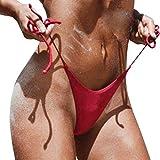 CICIYONER Bikini brasileño descarado Lado Inferior Corbata Tanga baño bañador (Rojo, S)
