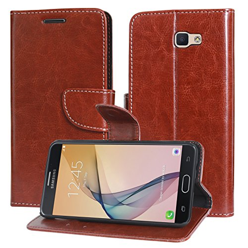 DMG Sturdy PU Leather Wallet Flip Book Cover Case for Samsung Galaxy J7 Prime (Brown)