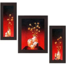 Wens 'Bright Flowers Wall Painting' Wall Art (MDF, 30 cm x 34 cm x 1.5 cm , WSP-4261)