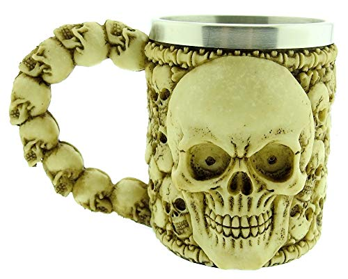 Skull Mug - Cranium - Skeleton - 3D - Bone - Ossario - Stainless Steel - Resin - Beer Mug - Horror - Gothic - Gift Idea - Drinks - Coffee - Man - Viking - Medieval - Halloween