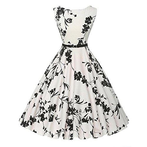 Damen Kleider, VEMOW Schwarz Blumen Vintage Bodycon Ärmellos Party Abendkleid