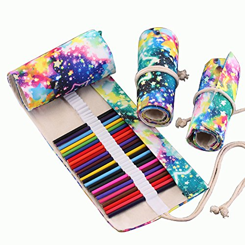 Zedo - Estuche enrollable de lona para lápices, bolígrafos, cortinas, cosméticos, bolsa de viaje, color 48 holes 56 * 20cm