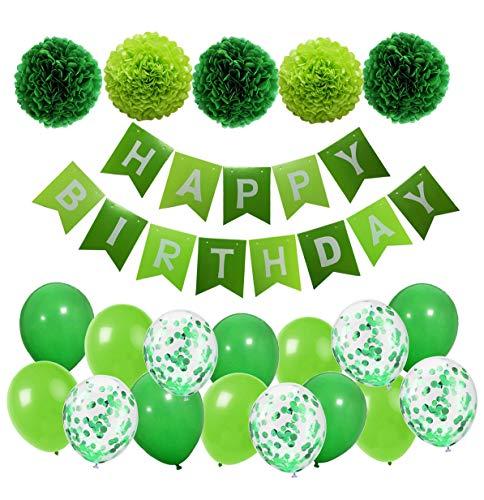 MAKFORT Geburtstagsdeko Grün Happy Birthday Girlande mit Pompoms und Luftballons Grün Konfetti Luftballons für Geburtstag Partydeko (Grüne Geburtstag Ballons)