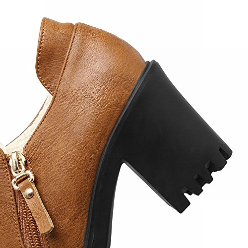 Mee Shoes Damen bequem chunky heels Plateau Ankle Boots Gelbbraun