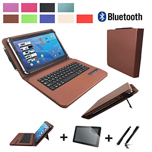 3in1 Starter set für Lenovo IdeaPad Miix 310 10ICR Bluetooth Tastatur Hülle | Schutz Folie| Touch Pen | 10.1 Zoll Braun Bluetooth 3in1