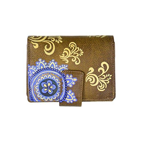 Sunsa Kleine Damen Leder Geldbörse Geldbeutel Portmonnaie Brieftasche aus Buntem weichem handbemaltem Leder 81041 (braun)