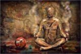 Posterlounge Leinwandbild 150 x 100 cm: Buddah am Meditieren von teddynash - fertiges Wandbild, Bild auf Keilrahmen, Fertigbild auf Echter Leinwand, Leinwanddruck