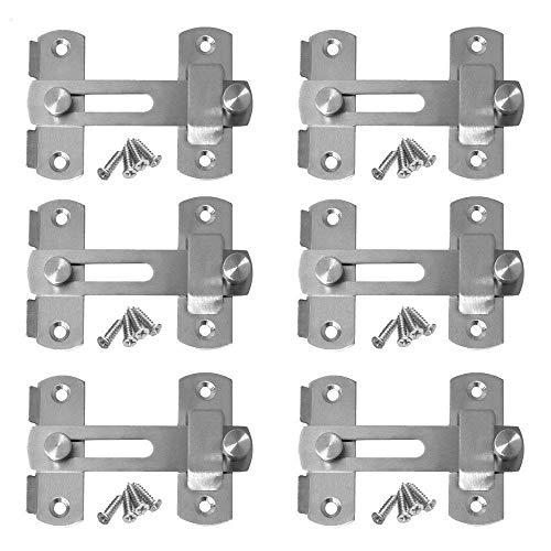 gasea 6pcs Loquet mecedora puerta de acero inoxidable candado aldaba para candado para puerta barra de seguridad cerradura de puerta para puerta ventana muebles