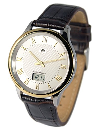 Elegante Bicolor Herren Funkuhr (Junghans-Uhrwerk) Braunes Lederarmband, Edelstahlgehäuse 964.4106