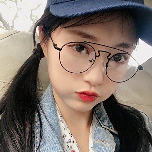 ZQWZ Retro weiche Schwester runde Brille Rahmen weibliches rundes Gesicht normales Gesicht Artefakt schwarzer Rahmen Augen weiblich Han