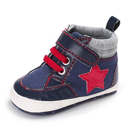 Chaussures bébé,Xinan Chaussures Garçon Fille Cuir Souple Bottines Stars mignonnes Chaussures