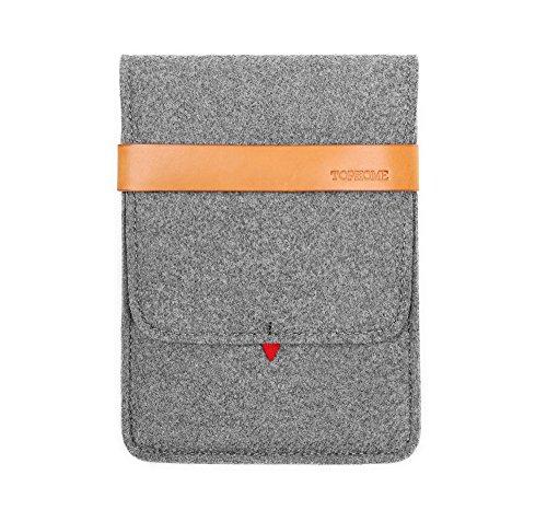 tophome iPad Funda Protectora Bolsa Funda de Transporte Cubierta Fieltro de Lana Funda de Piel auténtica Cerradura para Apple iPad Mini/iPad Mini 2/iPad Mini 3/iPad Mini 4, Gris