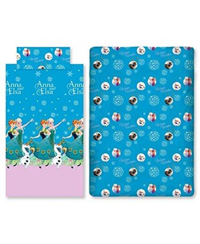Frozen anna e elsa set letto 3 pezzi lenzuola sopra + sotto con angoli + federa misura italiana