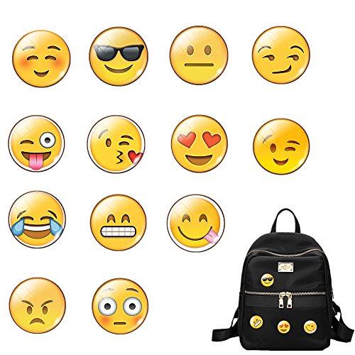 Pin Anstecker Brosche für Rucksack,13 Stück Glas Emoji Brosche Beutel Kleidung Dekoration Pins