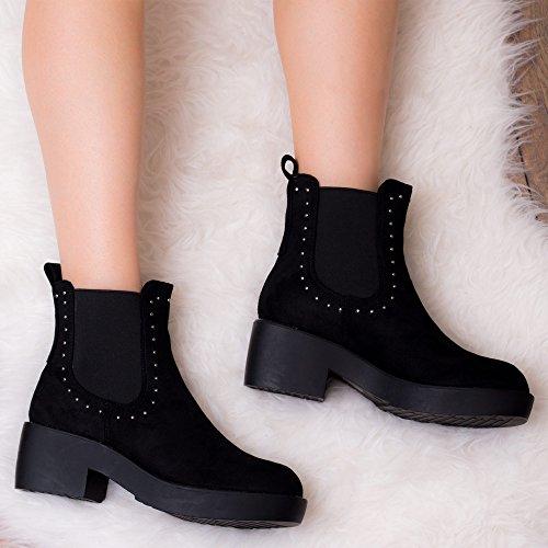 SPYTER Daim Chelsea Femmes Noir Bottines Simili Bloc Boots Talon SPYLOVEBUY à OwXUnv7dOq
