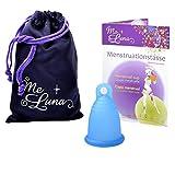 MeLuna Classic Copa Menstrual, Anillo, Azul, Talla S - 1 Unidad