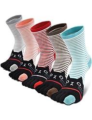 f6fc0d17d5f Chaussettes 5 doigts Femme avec orteils multicolores drôle chat de dessin  animé animaux