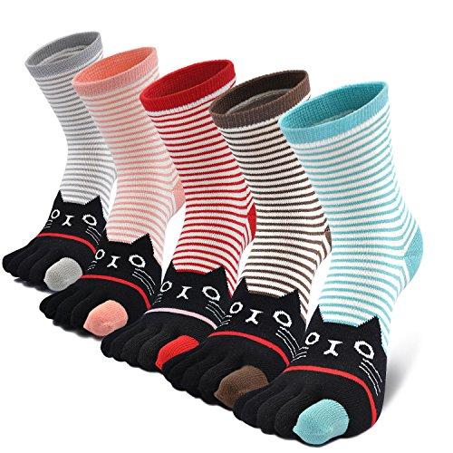 Mujer cinco calcetines de los dedos, Algodš®n Calcetines de Animales Lindos para Mujer Calcetines de Divertidos Ocasionales, 5 pares