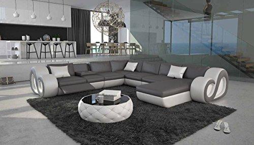 XXL Wohn-Landschaft mit Kunstleder Bezug 325x350 cm U-Form grau / weiß | Tane-L XXL | Designer Eck-Sofa mit Recamiere rechts | Couch-Garnitur für...