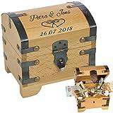 Schatztruhe zur Hochzeit mit Gravur == 2 Namen, 1 Datum, 2 Herzen - Geldgeschenke zur Hochzeit verpacken