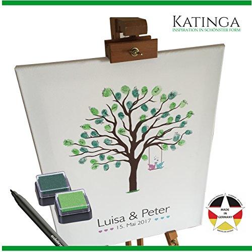 KATINGA Personalisierte Leinwand zur Hochzeit - Motiv Baum - als Gästebuch für Fingerabdrücke (40x50cm, inkl. Stift + Stempelkissen) …