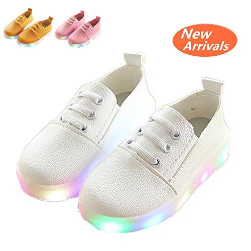 Kinderschuhe, Chickwin Baby LED Kinderschuhe Unisex Weich Und Bequem Rutschfest Bunte LED-Leuchten Schuhe Lässige Schuhe Flashing Schuhe (29 / Maß Innen (cm) 17.5, Weiß) (Air Jordans Schuhe Für Jungen-größe 9)