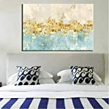 wjwiang Leinwand Wandkunst, Moderne Abstrakte Gold Geld Sea Wave Poster Druck Auf Leinwand Für Wohnzimmer Wohnkultur Kein Rahmen 60X90 cm Rahmenlose A