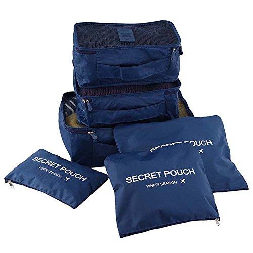 Cubes Set, 6 verschiedene große wasserdichte Nylon Travel Gepäck Organizer(Dary blue) (Großhandel Disney Stoff)