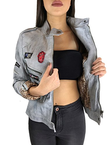 Worldclassca Damen Jacke Lederoptik MIT Patches 11 Farben S-XXL ÜBERGANGS Damenjacke Biker Kunstleder Fashion Jacket Blogger MIT REIßVERSCHLUSS Slim FIT Used Look (36 / S, Hell Grau)