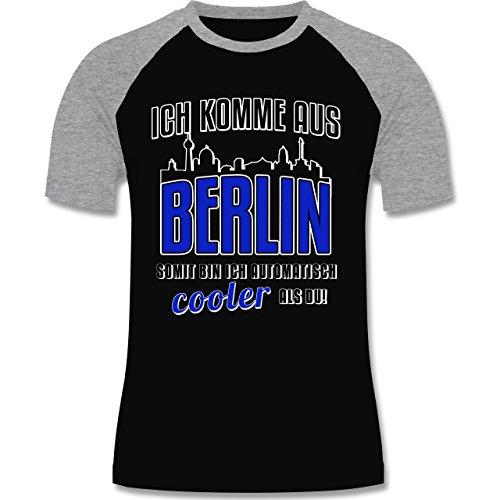 Städte - Ich komme aus Berlin - zweifarbiges Baseballshirt für Männer Schwarz/Grau Meliert