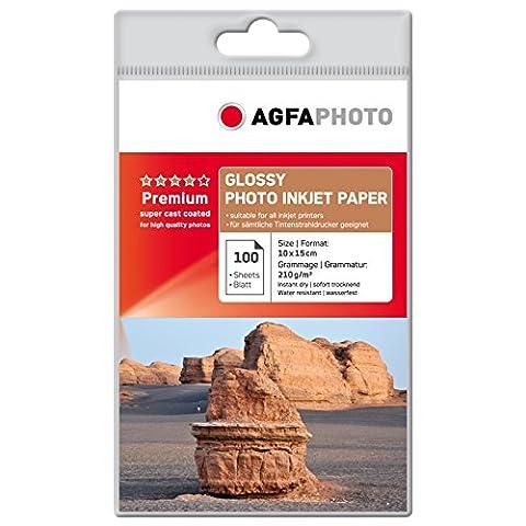 AgfaPhoto AP210100A6 Photopapier, A6, 10 x 15 cm, stark gussgestrichen, 210 g/m², 100 Seiten Inkjetpapier, Photocards, Qualitätslevel: bronze