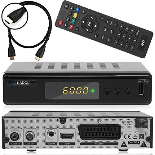 dvb c receiver twin tuner Anadol ADX 111c digitaler Full HD Kabel-Receiver [Umstieg Analog auf Digital] inkl. XAiOX® HDMI Kabel (HDTV, DVB-C / C2, HDMI, Chinch-Video, Mediaplayer, USB 2.0, 1080p) [autom. Installation]- schwarz