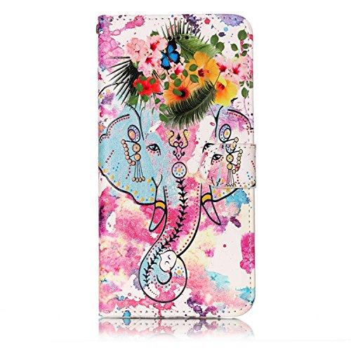Custodia iPhone 7 Plus, iPhone 7 Plus Cover, ikasus® iPhone 7 Plus Custodia Cover [PU Leather] [Shock-Absorption] Fiore Farfalla Lupo Gufo Dreamcatcher Modello Colorato verniciato Goffratura Protettiv Elefante colorato