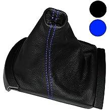 AERZETIX: Funda para palanca de cambios 100 % Piel Genuina negro Costuras de color azul