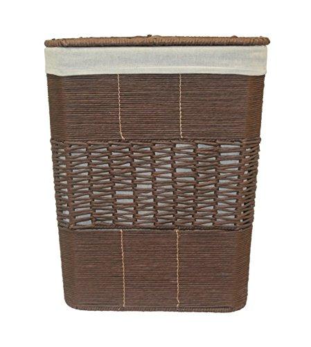 Cesto de mimbre para ropa marrón con tapa de gran capacidad. Interior extraíble.