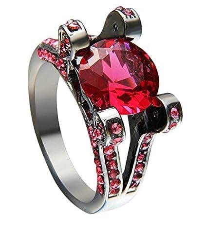 Femme Bandes De Mariage, Plaqué Or Noir 4 Broches Solide Laboratoire Créé Diamant Rouge Bague Taille 59