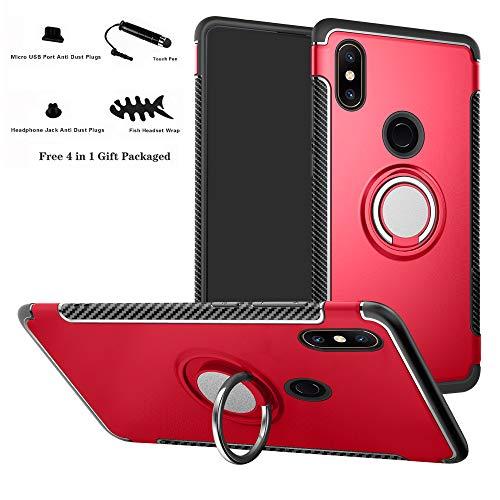 Labanema Xiaomi Mi Mix 2S Funda, 360 Rotating Ring Grip Stand Holder Capa TPU + PC Shockproof Anti-rasguños teléfono Caso protección Cáscara Cover para Xiaomi Mi Mix 2S - Rojo
