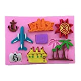 Romote Silikon-Backform Fondant Kuchen Dekoration Pralinenform für Kinder im Flugzeug-Coconut Tree Sun Villa Form