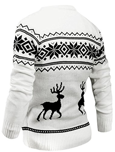 Man Manches Longues Col Rond Élastique Pull-over Cerf Motif Pull Blanc
