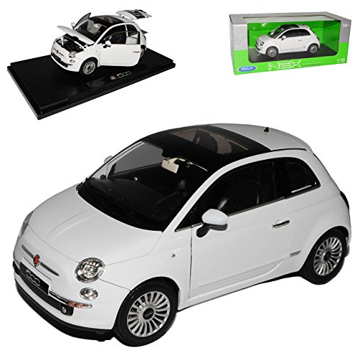 Fiat 500 Nuova Weiss Coupe Ab 2007 1/18 Welly Modell Auto mit...