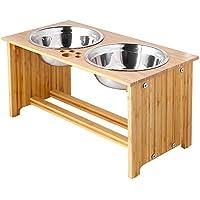 FOREYY Cajones para Perros levantados para Gatos y Perros - Cajones de Comida y Agua para Gatos con elevaciones de bambú Soportes para alimentadores con 2 tazones de Acero Inoxidable(25.5 cm)