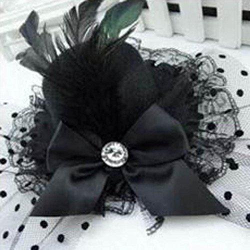 der Rose Tophat Gap Spitze Haar Clip Kostüm Zubehör (schwarz) (Schwarz Tophat)