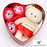 #6: VMP Heart Shape Utility Box 3 Scented Flower Rose and Teddy Soft Toy Gift Set 101
