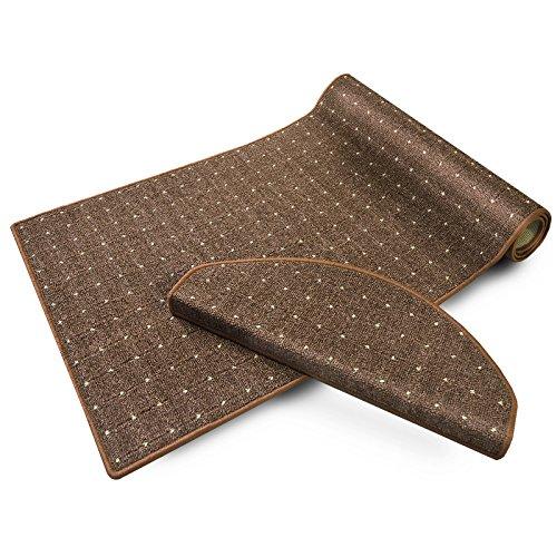 casa pura® Stufenmatten | mit Punkt Muster | GUT-Siegel, Made in Germany | kombinierbar mit Läufer | 65x23,5 cm | braun | rechteckig, 15er Set