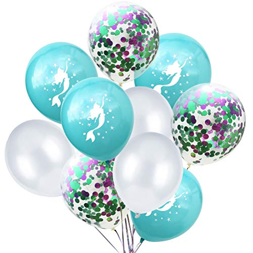 -Meerjungfrau Partei Ballon Set Konfetti Glitter Luftballons dekorative Luftballons für Baby-Dusche Geburtstag (Blaue Meerjungfrau) ()