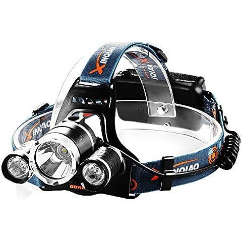 Linterna Frontal 4000Lúmen Angulo 90 Grado LED de Cabeza con 4 Modos de Alta Potencia para Camping,Pesca y otras Actividades al Aire Libre
