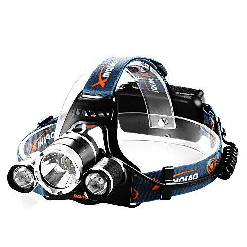 Preisvergleich Produktbild Stirnlampeled Kopflampeinklusive 2 Akku spritzwasserfeste Led Lampen, ideal für Nachtlese, Camping, Angeln,Abenteuer,Höhlenforschung , Bergsteigen , Klettern, Fahrrad usw. (schwarz)