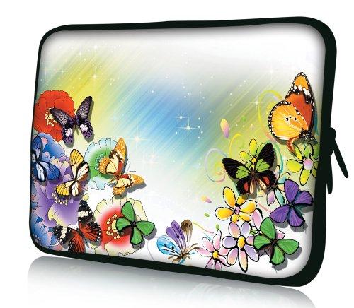 Luxburg® Design Laptoptasche Notebooktasche Sleeve für 17,3 Zoll, Motiv: Strümpfe Bunte Blüten und Schmetterlinge