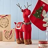 Gisela Graham : Decoración navideña : renos tela roja (44cms)